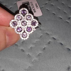 Genuine Amethyst White Zircon Sterling Silver Ring